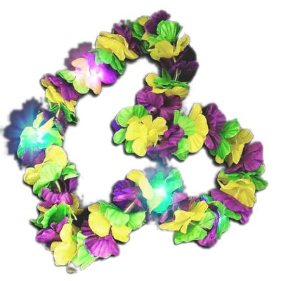 Tri Color Hawaiian Mardi Gras Flower Lei Flashing Necklace All Products