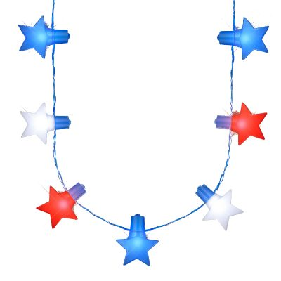 Jumbo Stars Red White and Blue LED String Lights Necklace for 4th of July 4th of July