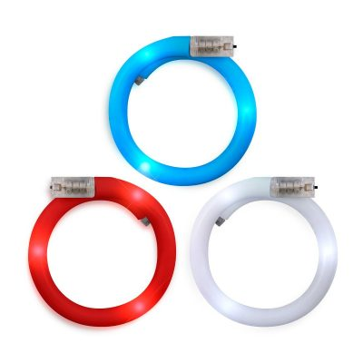 Adjustable Assorted Light Up Red White Blue Patriotic Tube Bracelets for 4th of July  Pack of 12 4th of July