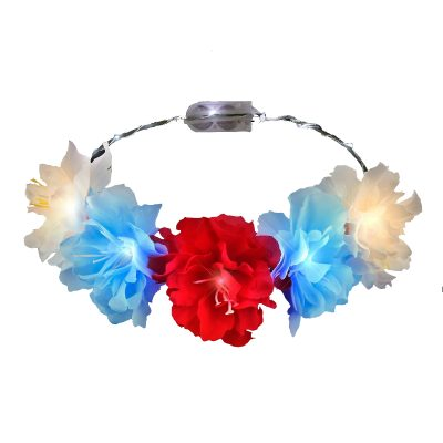 Red White Blue  Light Up Flower Crown Headpiece for Memorial Day 4th of July 4th of July