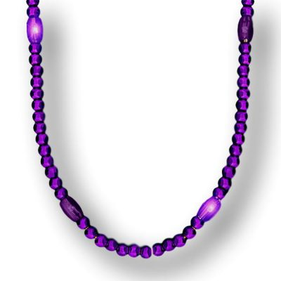 LED Necklace with Purple Metallic Beads for Mardi Gras All Products