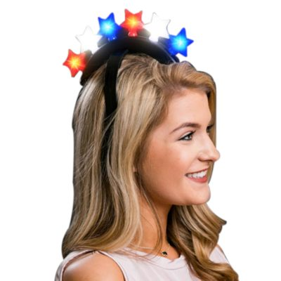 Six Stars Red White Blue Light Up LED  Mohawk Headband All Products