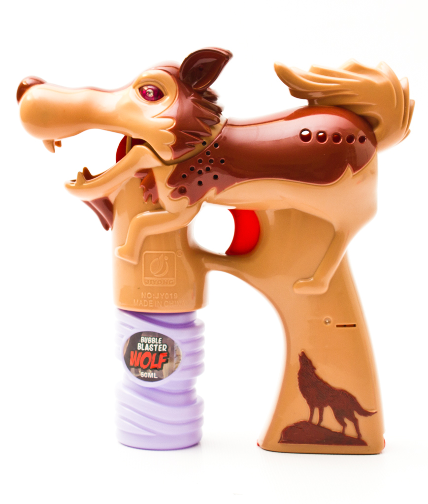 Light Up Wolf Bubble Blaster Gun Brown All Products