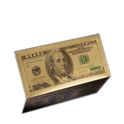 24k Gold Plated 100 Dollar Gold Envelope 24K Gold and Silver Plated Replica Bills