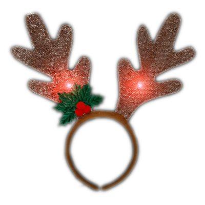 LED Golden Reindeer Antlers Light Up Headband Christmas Light Up Headbands