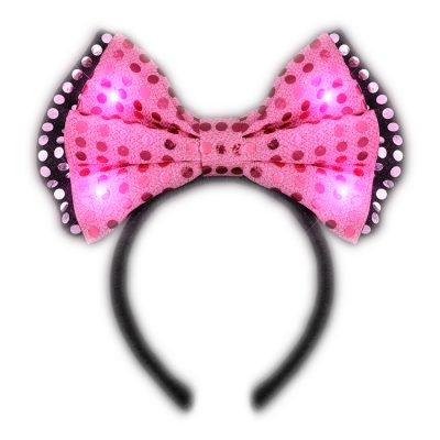 LED Pink Sequin Bow Tie Light Up Headband All Products