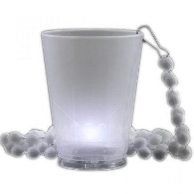 Light Up White Shot Glass on White Beaded Necklaces White