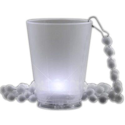 Light Up White Shot Glass on White Beaded Necklaces White