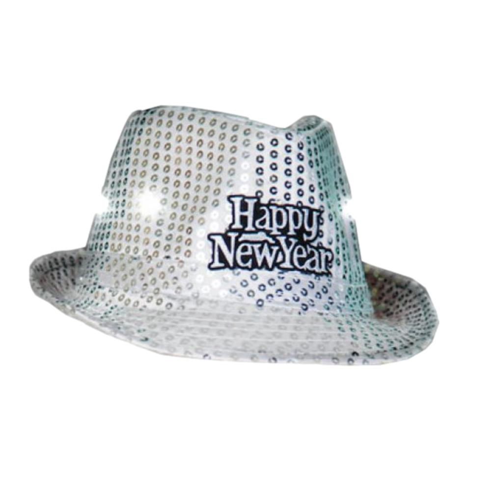 LED Happy New Year Fedora Silver Pack of 12 All Products