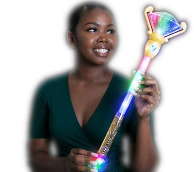 Light Up Diamond Scepter Wand Prism Ball Colors