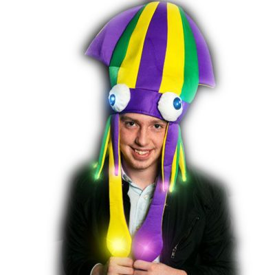 Light Up Flashing Mardi Gras Squid Hat All Products
