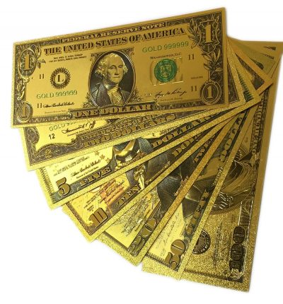 24k Gold Plated Fake Banknote Currency 1 $2 $5 $10 $20 $50 $100 Set of 7 24K Gold and Silver Plated Replica Bills