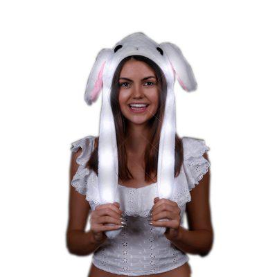 Light Up Flashing Bunny Moving Ears Plush Hat White Colors