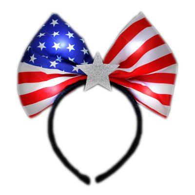 Flashing USA Flag Star Soft Bow Headband 4th of July