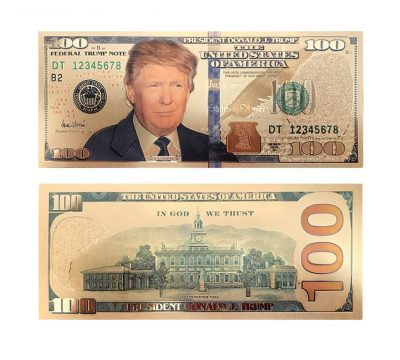 100 USD President Donald Trump Collectible Gold Plated Fake Bank Note 24K Gold and Silver Plated Replica Bills