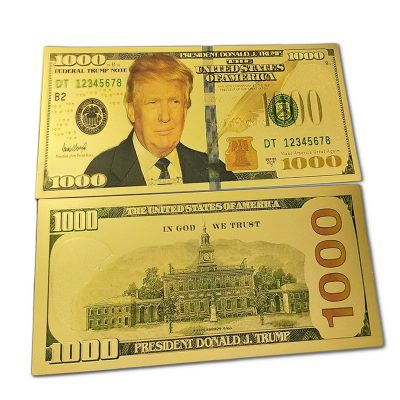 1000 USD Commemorative President Donald Trump Collectible Gold Plated Fake Bank Note 24K Gold and Silver Plated Replica Bills