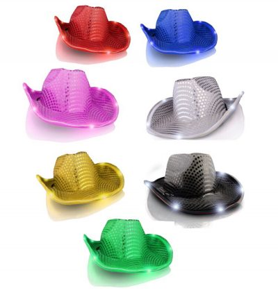 Assorted LED Sequin Cowboy Hat No Stitching Pack of 12 All Products