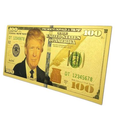 Refrigerator MAGA Magnet 24K $100 Donald Trump Gold Plated Bank Note 24K Gold and Silver Plated Replica Bills