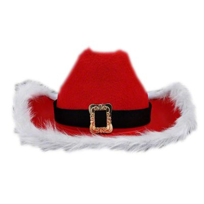Non Light Up Christmas Cowboy Red Santa Clause Western Holiday Hat All Products