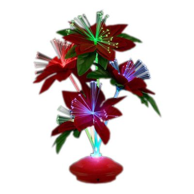 Christmas Fiber Optic Flower Centerpiece Red Light Up Decoration All Products