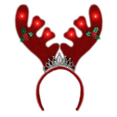 Light Up Christmas Reindeer Antlers with Tiara Lighted Headband Christmas Light Up Headbands