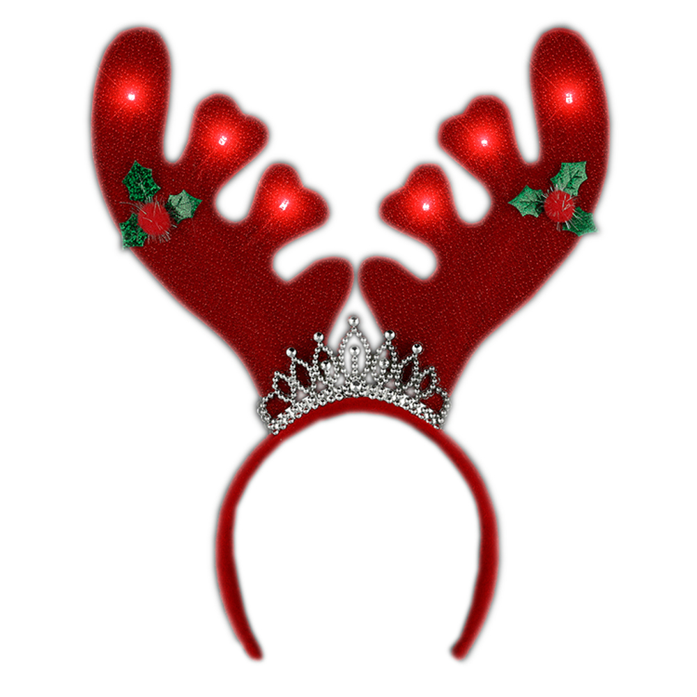 Light Up Christmas Reindeer Antlers with Tiara Lighted Headband All Products