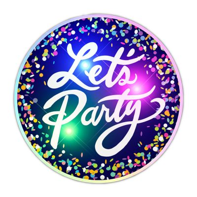 Light Up Lets Party Flashing Blinky Light Badge Pin All Body Lights and Blinkees