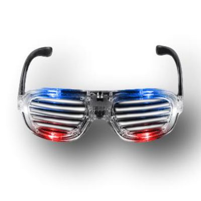 Red White Blue LED Slotted Rock Star Shutter Sunglasses Pack of 6 All Products