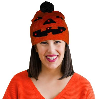 Light Up Monster Pumpkin Knit Pom Pom Beanie Pack of 4 All Products