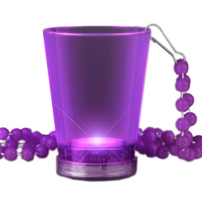 Light Up Purple Shot Glass on Purple Beaded Necklaces Purple