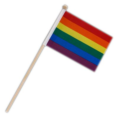 Non Light Up Flag on Stick Pride Rainbow 4th of July