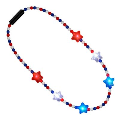 Flashing Patriotic Disco Prism Stars Red White Blue Party Necklace Colors