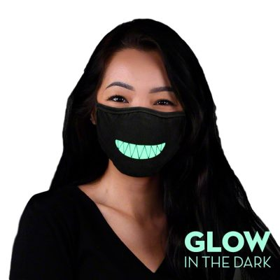 Customizable Glow in the Dark Black Reusable Washable Face Mask All Products