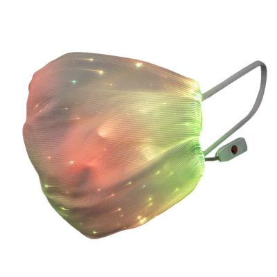 USB Fiber Optic Light Up Multicolor Face Mask in White Rectangle Fabric All Products