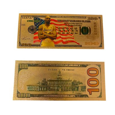 100 USD Kobe Bryant Collectible Gold Plated Fake Bank Note All Products