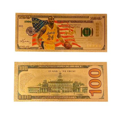 100 USD Dribbling Kobe Bryant Collectible Gold Plated Fake Bank Note All Products