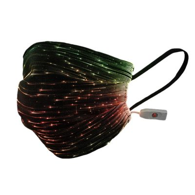 USB Fiber Optic Light Up Multicolor Face Mask in Black Rectangle Fabric All Products