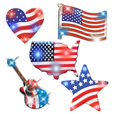Assorted USA Fag Patriotic Body Light Lapel Pins Pack of 25 All Body Lights and Blinkees