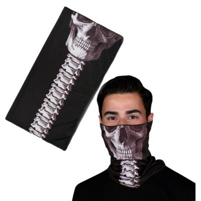 Reusable Stretchable Neck Gaiter Warmer Skeleton Face Wrap Black All Products