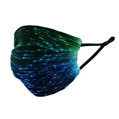 Battery Operated Fiber Optic Light Up Multicolor Face Mask in Black Rectangle Fabric All Products