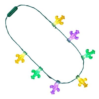 Mardi Gras Big Acrylic Fleur de Lis Bulbs LED Flashing String Charm Crewe Necklace All Products