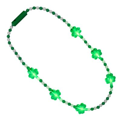 Light Up Shamrock Charms Opaque Bead Necklace for St Patricks Day All Products