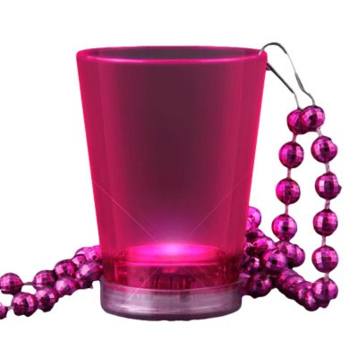 Light Up Pink Shot Glass on Pink Beaded Necklaces All Products