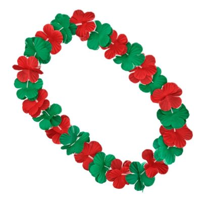 Hawaiian Flower Christmas Lei Necklace Red Green All Products