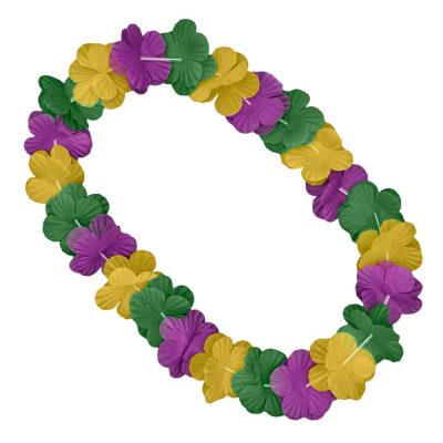 Hawaiian Flower Mardi Gras Lei Necklace Purple Green Gold All Products
