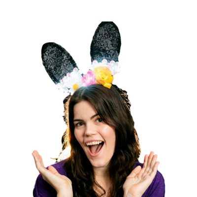 Light Up Sassy Sexy Black Lace Flower Bunny Ears All Products