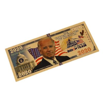 2020 President Joe Biden All Aboard Biden Train 24k Gold Plated Bill Collectible Fake Banknotes for Decoration 24K Gold and Silver Plated Replica Bills