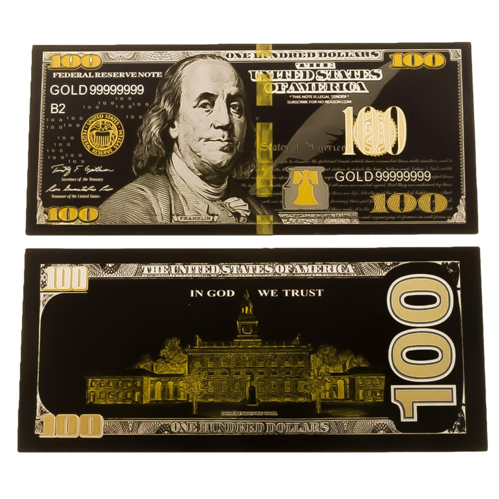 24K Gold Black Plated 100 Dollar Bill Replica Paper Money Currency Banknote Art Commemorative Collectible Holiday Decoration 24K Gold and Silver Plated Replica Bills