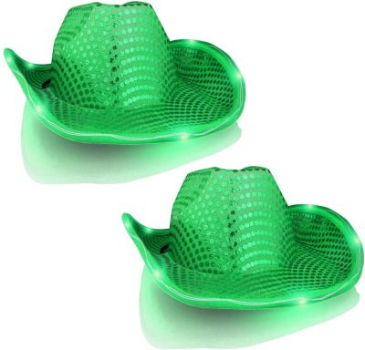 LED Flashing Cowboy Hat with Green Sequins Pack of 2 All Products