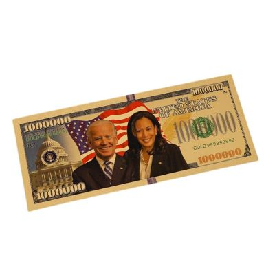 Joe Bidden Kamala Harris Tandem 24k Gold Plated Bill Collectible Banknotes for Decoration 24K Gold and Silver Plated Replica Bills